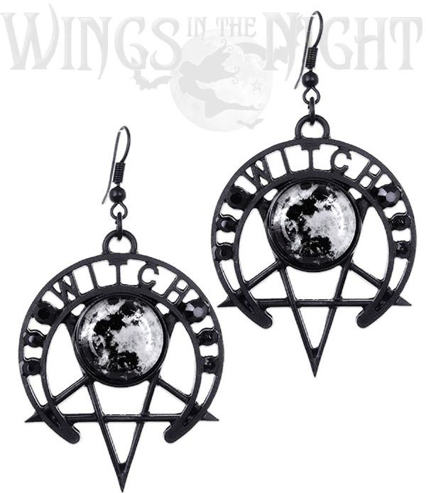 RESTYLE Gothic Witch Moon Black Pentagram Earrings